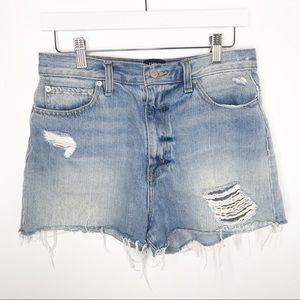 BDG   Girlfriend High Rise Distressed Denim Shorts